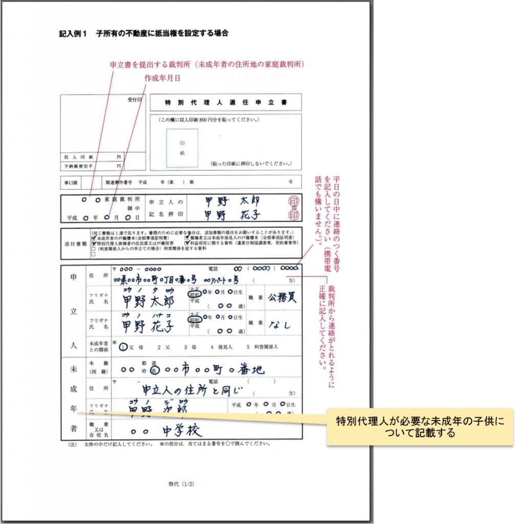 (根抵当権設定)特別代理人選任の申立書 書き方_1