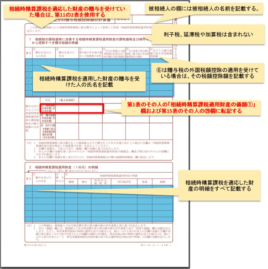 第11の2表相続時精算課税適用財産の明細書相続時精算課税分の贈与税額控除額の計算書_1