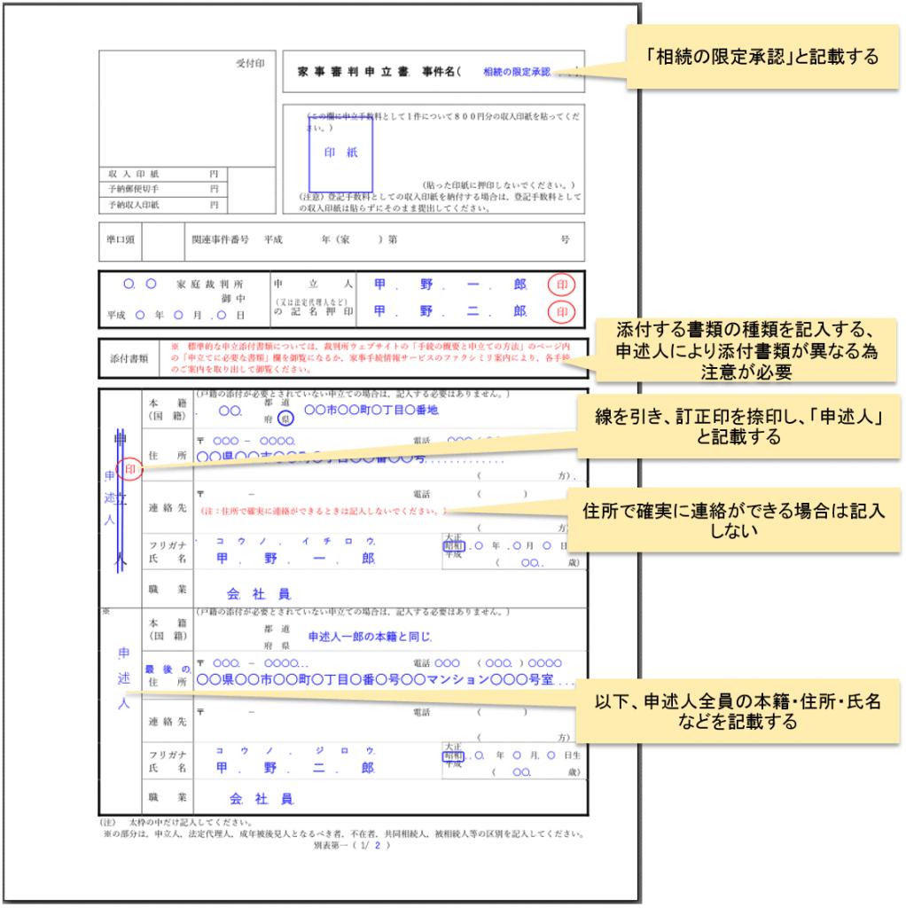 限定承認申述書書き方_1