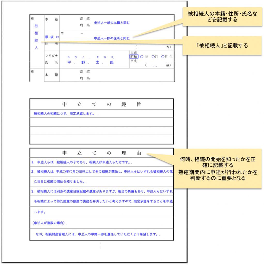 限定承認申述書書き方_2