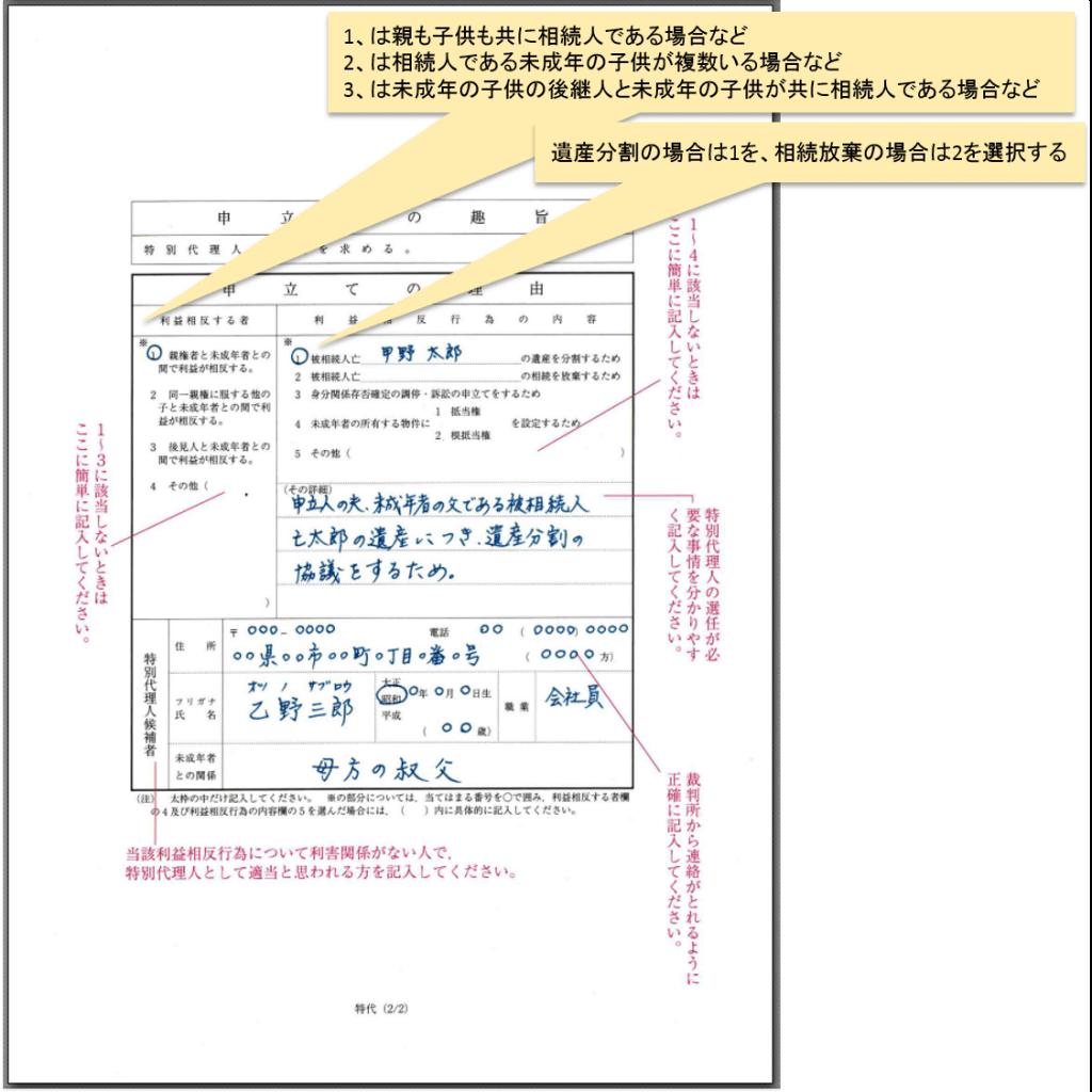 (遺産分割協議) 特別代理人選任の申立書 書き方_2