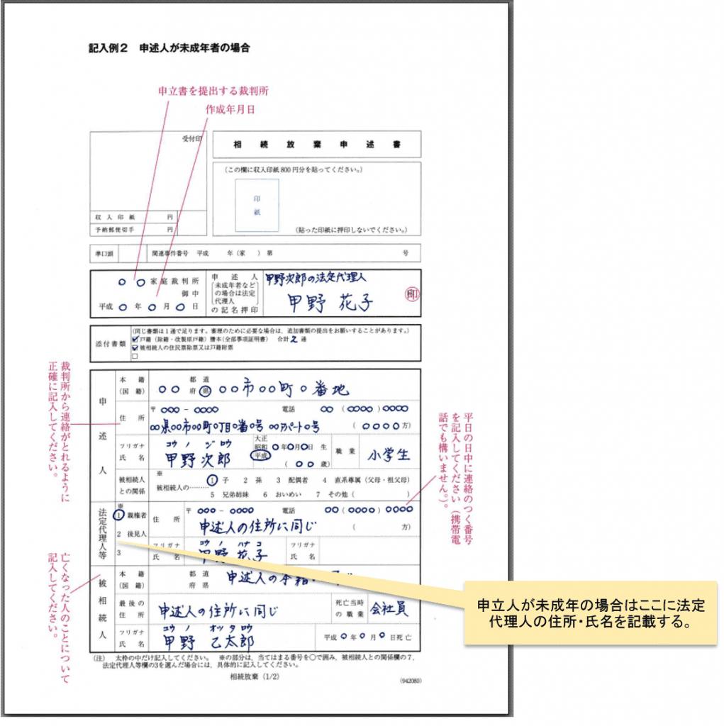 相続放棄申述書記載例 20歳未満_1
