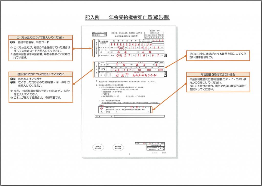 雛形 年金受給権者死亡届(報告書)