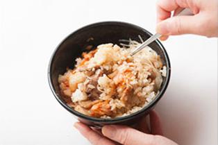 ④食べるときは、具材とごはんを混ぜてどうぞ!