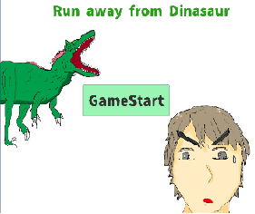 Run away from dinosaur.