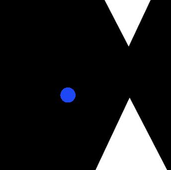 青色の球がぴょんぴょん飛び跳ねて三角形を避けるゲーム