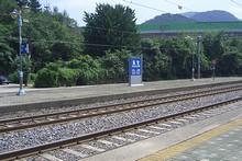 反対側のホームの駅名標