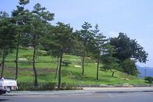 バス停から見る嶺南楼公園