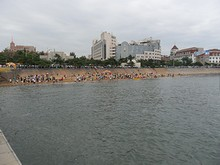 桟橋から見た海水浴場