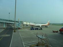 隣に見たことの無い航空会社の飛行機が止まっている