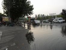 バス停が水浸しになっている