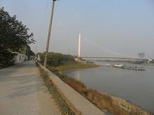 夾江大橋と桟橋が見える