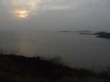 海岸と日没