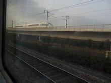 高速列車に追い越される