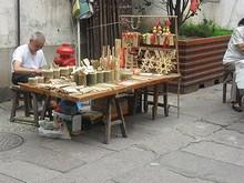 竹細工の露店