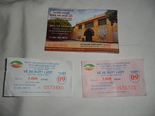 ホアロープリズンの入場券と9番バスの切符
