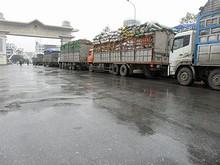 ベトナム出国ゲートに並ぶ、国境貿易のトラック