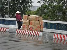 国境貿易の商品をベトナム側へ引っ張って行くおばちゃん