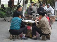 公園内でトランプ賭博に熱中する人達
