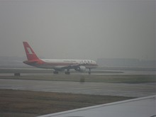 離陸待機中の上海航空機